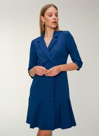 NGSTYLE Çift Düğmeli Ceket Elbise Petrol